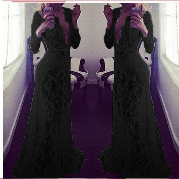See Through Dress Plus Size Maxi Hot Style Summer Beach European Sexy Deep V-neck Long Sleeves Lace Long Dress