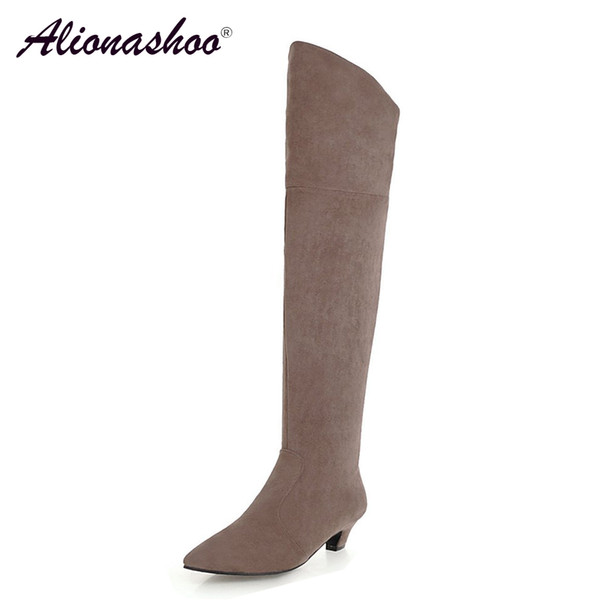 Alionashoo Plus Size 34-48 Thigh High Boots Female Winter Boots Women Over the Knee Med Heel Stretch Sexy Fashion Shoes