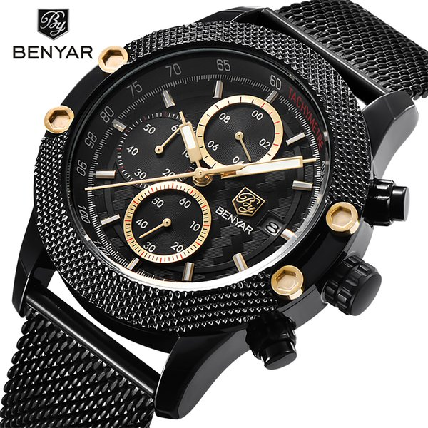 0f456896a143 Benyar marca de moda de lujo para hombre deportes cronógrafo relojes hombres  impermeable reloj de cuarzo