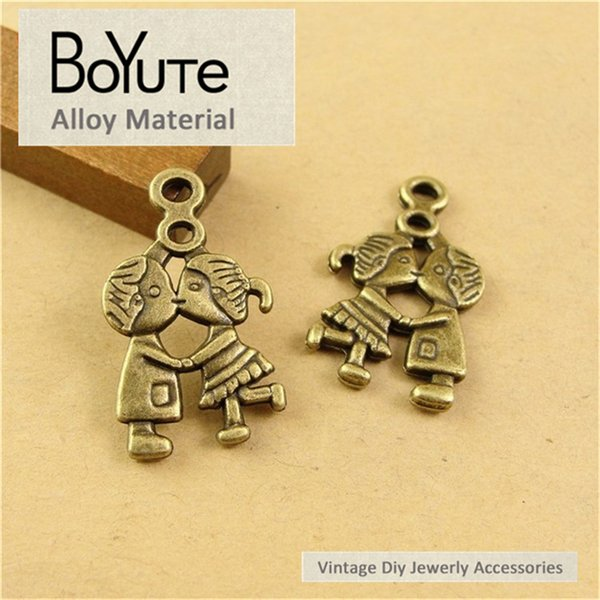 BoYuTe (60 Pieces/Lot) 16*27MM Antique Bronze Plated Metal Lovers Pendant for Findings Accessories Parts Vintage Necklace Diy Hand Made