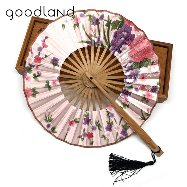 Free Shipping 10pcs Japanese Style Charming Floral Print Spun Silk Bamboo Hand Fan in Gift bag and Tassel Wedding Party Supplies
