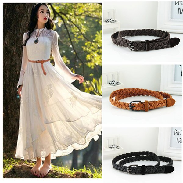 New Style designer Womens Candy Colors Hemp Rope Braid Female slim Belt For Dress buckles fashion Factory Wholesale Order 8 Pcs Or More