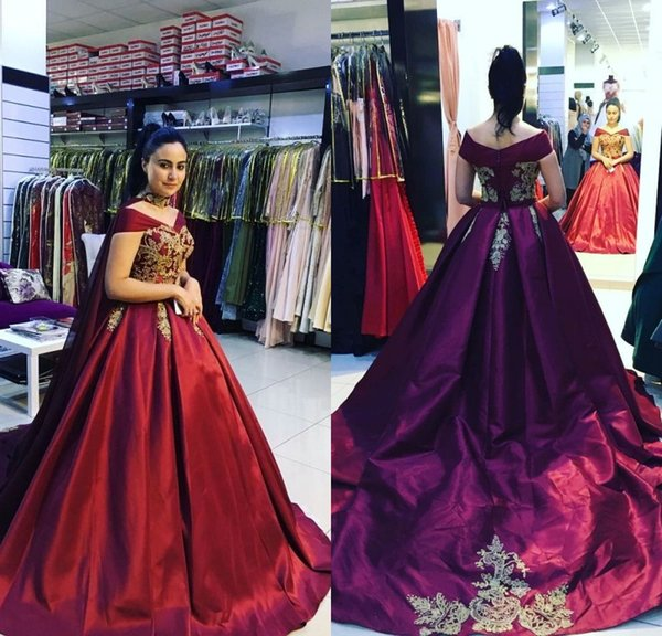 Modest Princess Burgundy Red Long Evening Dresses Off Shoulder Cap Sleeve Taffeta Evening Gowns Formal Women Special Occasion Prom Dresses