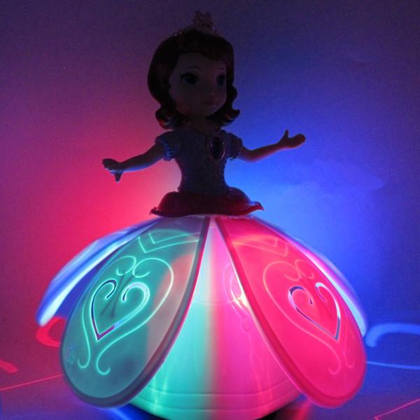25cmx13cm Principessa elettrica Bella bambola Cantare / Ballare / Girare Giocattoli musicali 1 pz / lotto per Ragazza Regali di Natale per bambini A610