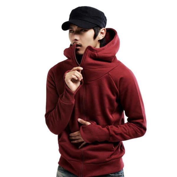 Men's High Neck Warm Velvet Hoodie Turtle Neck Thicken Hoodies Solid Zipper Cotton Cardigans with Cap Front Pockets Thick Hoodies XN