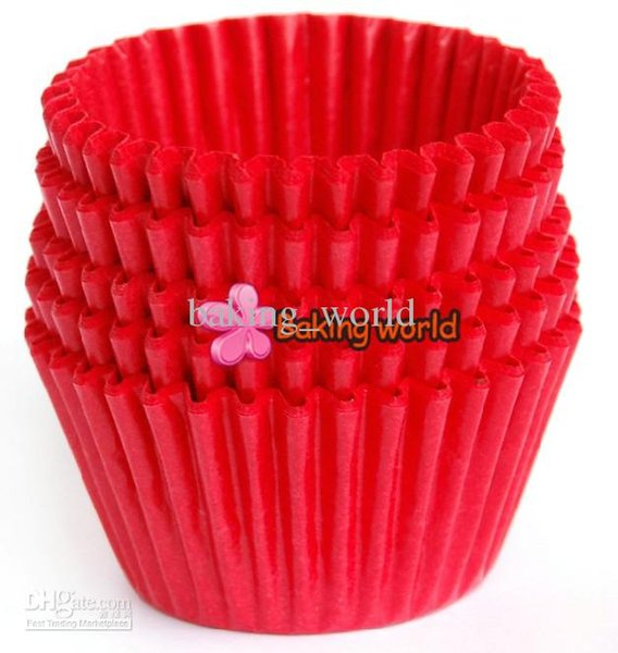 500pcs Red Round greaseproof paper Cup cake tray Cupcake case High temperature baking cup Home Party diverse colorful Party
