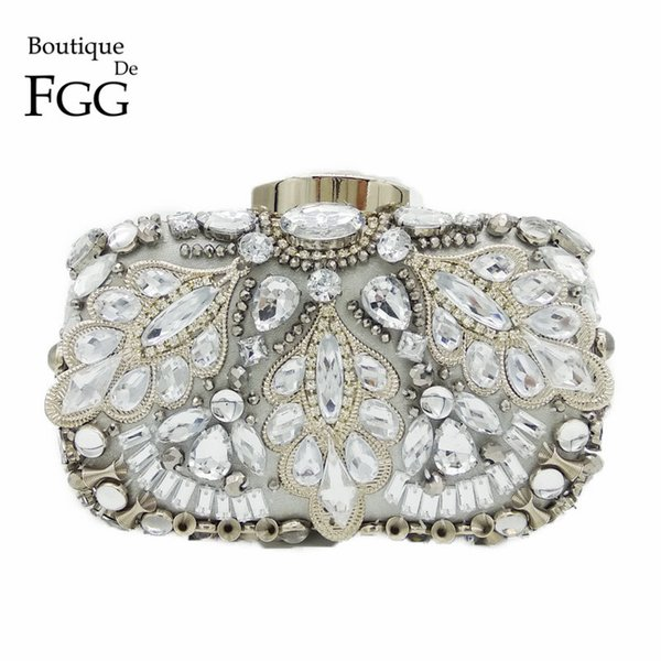 Silver Crystal Beaded Sequins Vintage Women Handbag Metal Clutches Evening Bags Bridal Purse Wedding Party Prom Clutch Hand Bag D18110106