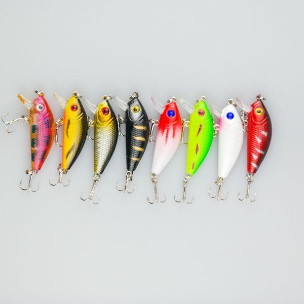 400Pcs/Lot 8 Colors Fishing Lure Hard Bait MI010 Length 6.3CM Weight 4.0G High-Carbon Hook Plastic Artificial Vivid Swimming Hard Bait