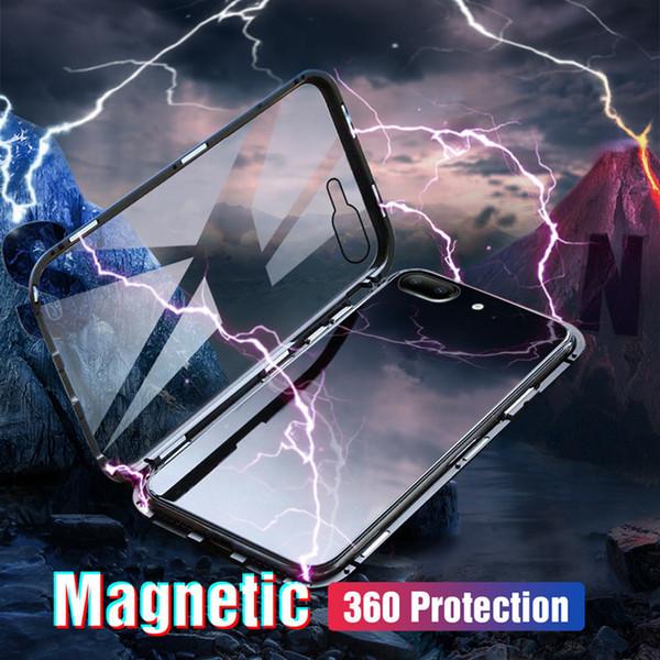 Магнитные чехлы для iPhone XR Металлический каркас с закаленным стеклом Чехлы для iPhone XS Max Противоударная защита Тонкие чехлы