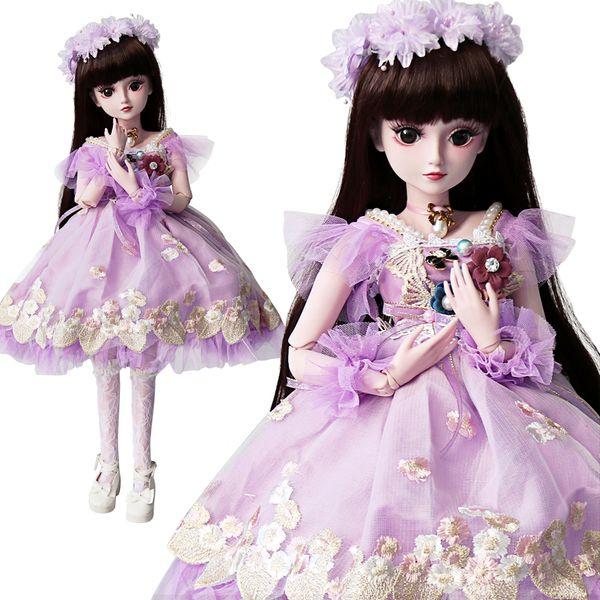 UCanaan 1/3 BJD Puppe Mädchen SD Puppen 19 Ball verbunden mit voller Outfits Brown Eyes Wimpern Kinder Spielzeug Chilren Geschenke Sammlung