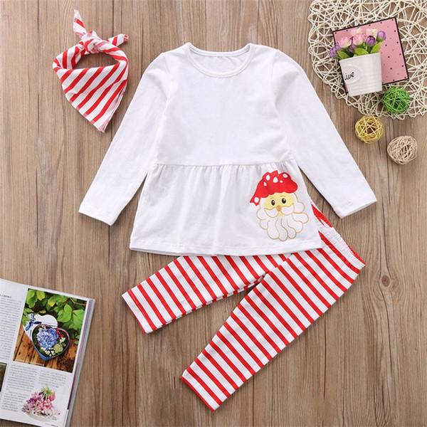 Cute Kids Santa Claus Set Baby Girls Christmas Clothing Sets Tops T-shirt +Striped Long Pants +Headband/Scarf children Xmas Outfits Clothes