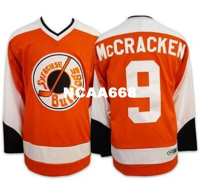 top popular Hot Hanson Brothers Charlestown Ice Hockey Jersey #9 McCRACKEN syracuse bulldogs SlapShot Movie high quality embroidery Jersey 2019