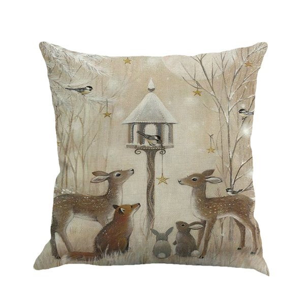 Cool Christmas Deer Snowman Pattern Cotton Linen Throw Pillow Cushion Cover Case Car Home Sofa Decorative Pillowcase 45 45Cm European Pillow Case Cheap Gmtry Best Dining Table And Chair Ideas Images Gmtryco