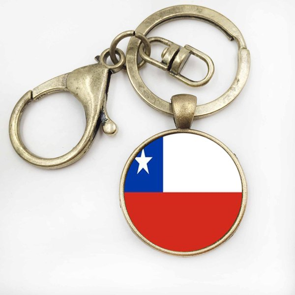 Chili Drapeau Hommes De Voiture Porte-clés Bijoux En Verre Rond Image Porte-clés Femmes Sac À Main Art Porte-clés Accessoires