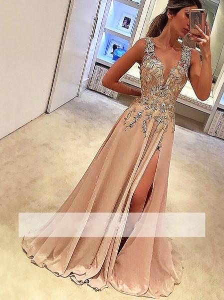 Elegant V-Neck Sleeveless A-Line Long Prom Dresses Lace Appliques Side Slit Evening Dress Party Wear Custom Made