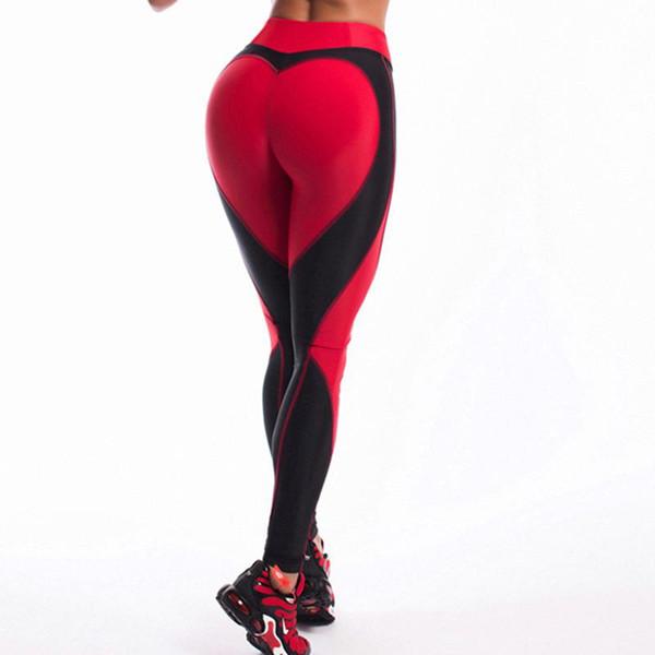 2018 New Yoga Pants Heart Shape Sport Leggings Fitness Patchwork Slim Trousers High Waist Women Running Dancing Tights Pants