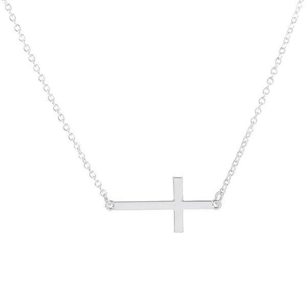 Wholesale-2016 Top Selling Min 1pc-Gold and silver Sideways Cross Necklace, dainty cross pendant necklace EY-N035