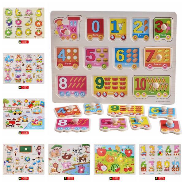 Puzzle en bois bébé main Grab Board ensemble éducatif de bande dessinée en bois jouet véhicule marine animaux Puzzle enfant cadeau présent GGA1361