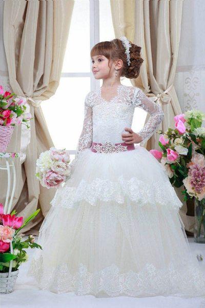 Long Sleeve Lace Crew Custom Cute TUTU Flower Girl Dress Floor Length Hand Made Flowers Bows Kids Prom Birthday Dress