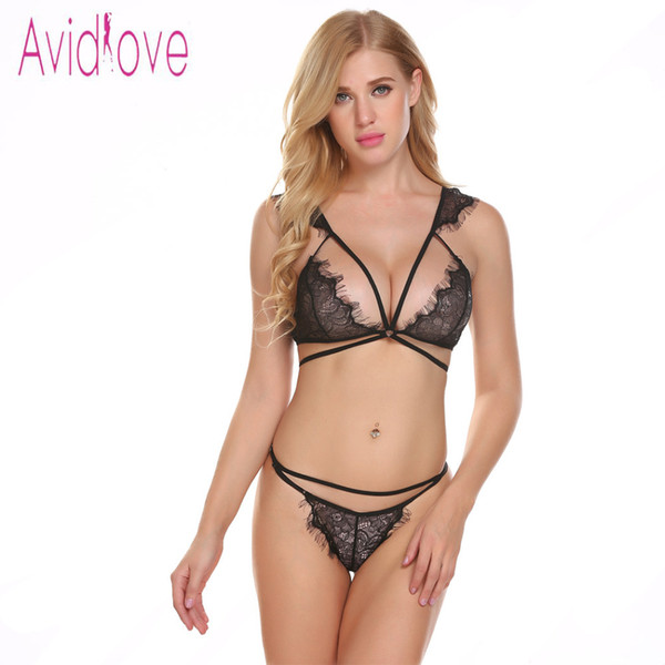 81875033a6d46 Avidlove Women Babydoll Sexy Lingerie Open Cup Strappy Floral Lace Bra And  Women Set With G String Lenceria S18101509 Panties And Bra Sexy Pajama Sets  ...