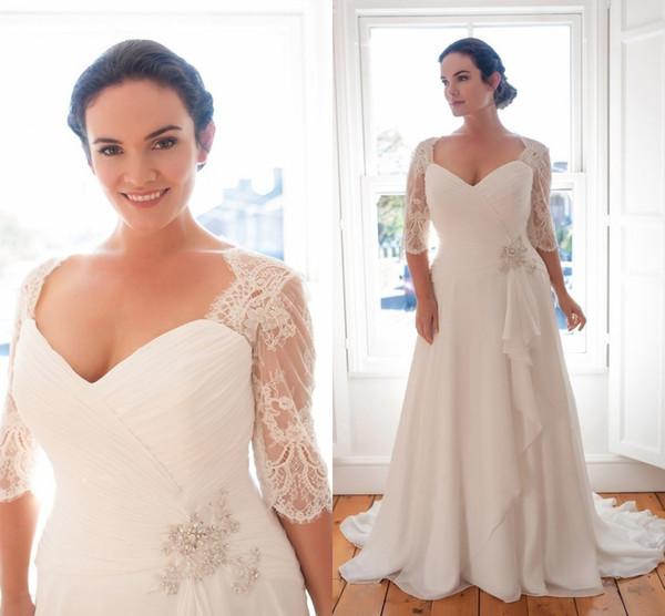 Más el tamaño V cuello vestido de boda diseñador barato imperio con medias mangas ilusión gasa cristal acanalada plisado vestidos de novia de boda largos