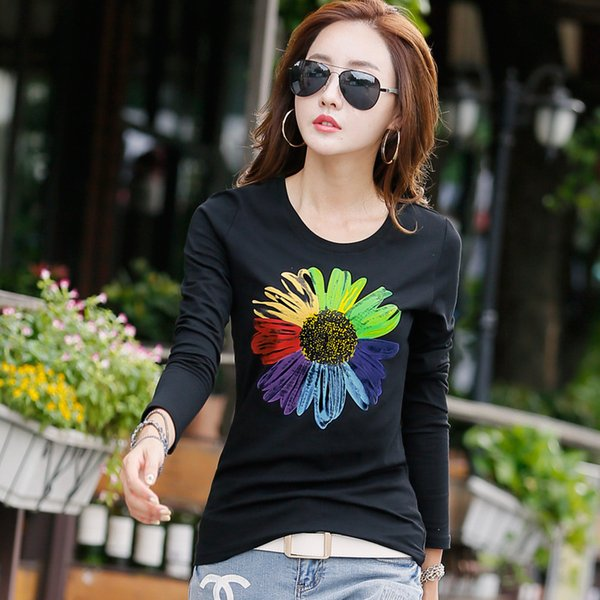 New 2017 T Shirt Long Sleeve Cotton T-shirts For Women Fashion Print Female T-shirt Casual Winter Tops Tees Camisetas S929