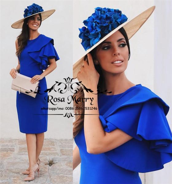 Sexy bleu royal pas cher robes de soirée cocktail 2019 gaine manches courtes, plus la taille thé longueur arabe arabe satin formelle soirée robes de bal