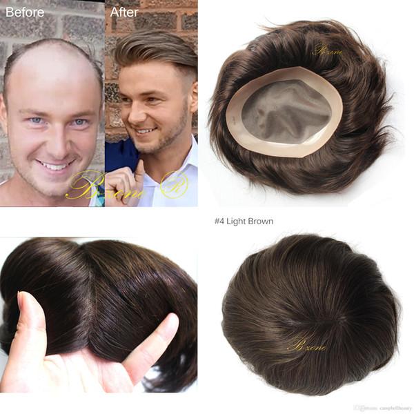 Замена волос парик для мужчин фондовый парик ужин штраф моно с ПУ вокруг средней плотности 5 цветов