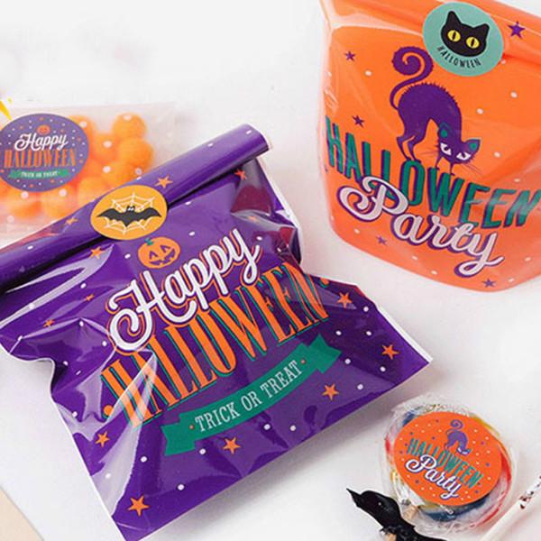 100 stücke Halloween Cookie Taschen Hochzeit Geschenktüten für Süßigkeiten Kekse Snack Backpaket Event Hallowmas Party Supplies