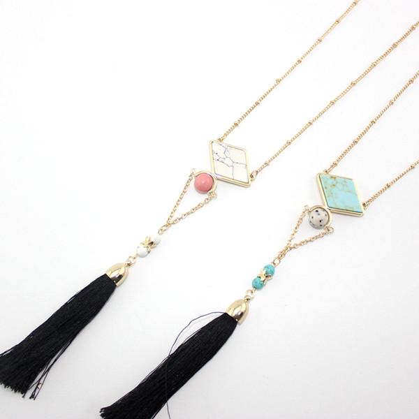 BOHO Natural Stone Pendant Tassel Necklace Rhomb Turquoise Druzy Quartz Crystal Gold Chain Necklace Geometric Women Jewelry