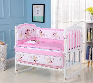 Bebek için 100% pamuk beşik tamponlar Işlemeli Ayı yumuşak ped çocuk koruma her parça ücretsiz kombinasyonu toddler yatak seti