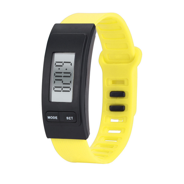 9 Colores LCD Digital Podómetros Deportes Pulsera de Mano Electrónica Correa de Reloj Podómetro Sport Run Step Contador de Calorías Relojes