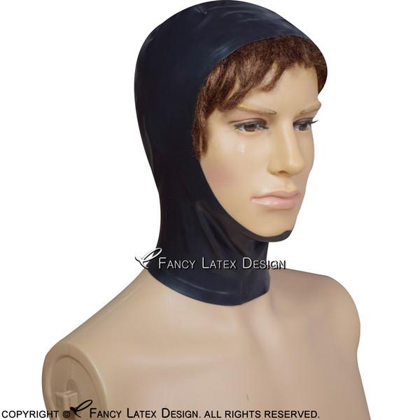Black Sexy Latex Hood With Zipper Back Open Face Rubber Mask XXL TT-0123