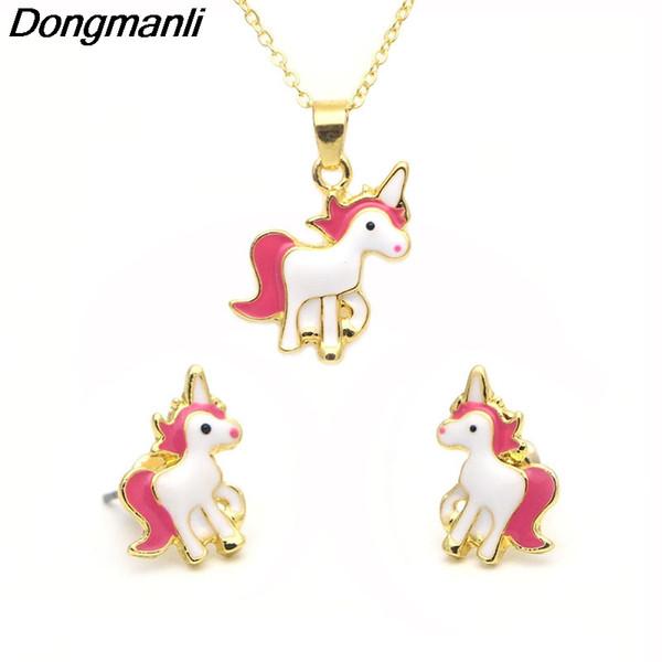 P2299 Dongmanli 20 paare / los großhandel Einhorn Kinder Ohrringe Schmuck Geschenk Für Mädchen Cartoon Frauen Emaille Stummel Ohrringe Brincos