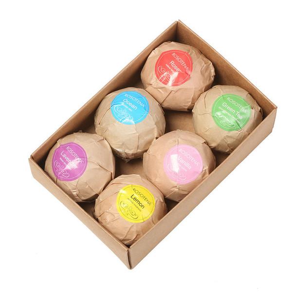 DHL 5 satz Badesalz Ball 6 stücke Organische Bad Bomben Blase Ätherisches Öl Handmade SPA Stressabbau Peeling Mint Lavendel Rose Geschmack