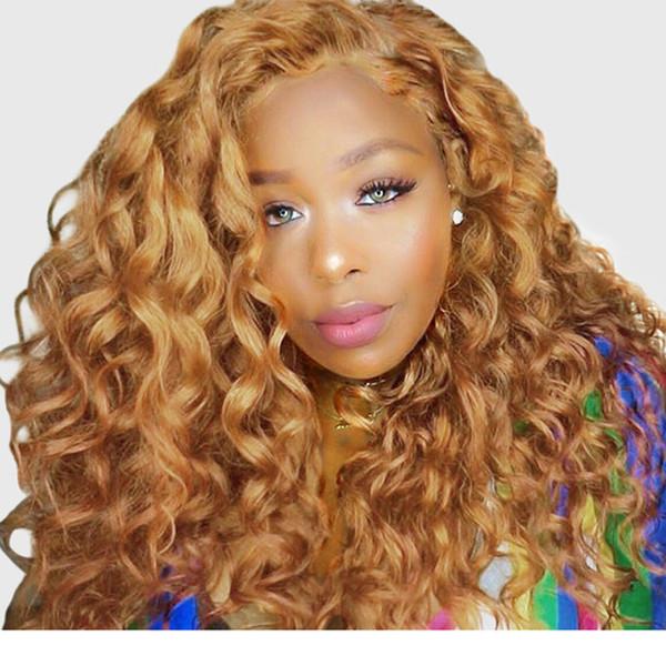 Блондинка Кружева Перед Парики Человеческих Волос Для Женщин Красочные 150% Плотность Свободная Волна Парик 27# Бразильские Волосы Реми Мед Черный