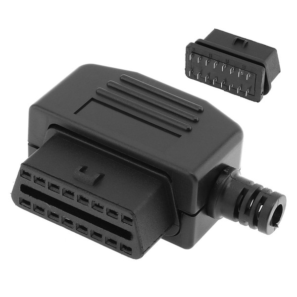 OBD-II L Type 16 Pin Female Connector Wire Sockets Connector Plug with Shell and Screw CDT_10V