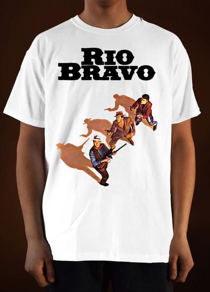 Men 's Lastest 2018 Moda RIO BRAVO Poster ver. 3 John Wayne (branco) 100% algodão impressão casual manga curta homens camiseta o pescoço