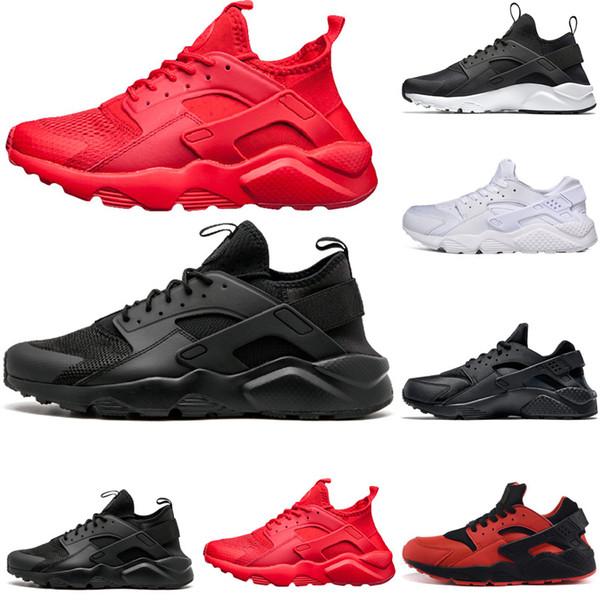Acheter Nike Air Huarache Shoes Vente Chaude Triple White Black Huarache 4.0 1.0 Chaussures De Course Rouge Or Mens Chaussures Femmes Huaraches