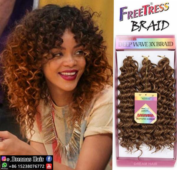Freetress crochet cheveux crochet bouclés torsion 3pcs / pack crépus bouclés 2017 gratuit tress ombre bug jerry bouclés