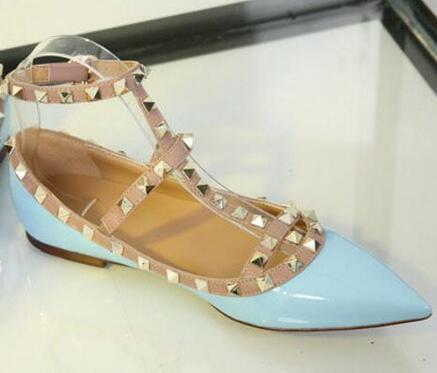 power8899 / Brand Sexy Leather Shoes Pattern Women Flats Rivets Pointed Toe Women Shoes Ankle Straps Flats Shoes Women