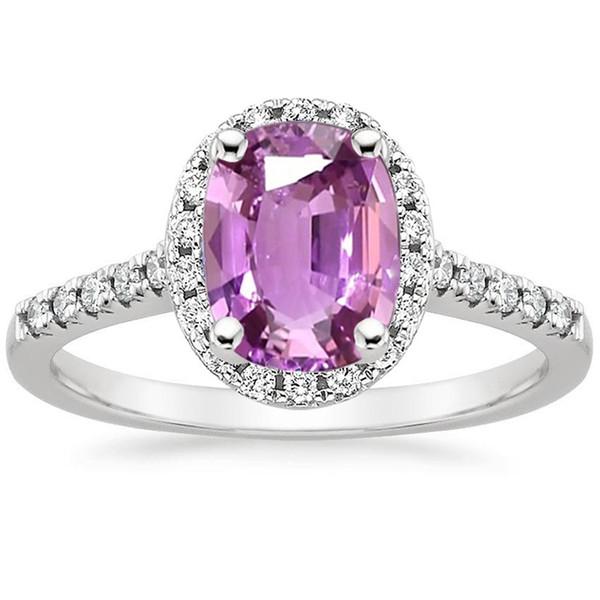 ANI 18 Karat Weißgold (AU750) Frauen Ehering Zertifiziert Natürliche Rosa Saphir Oval / Rechteck Form Engagement Diamant Halo Ring