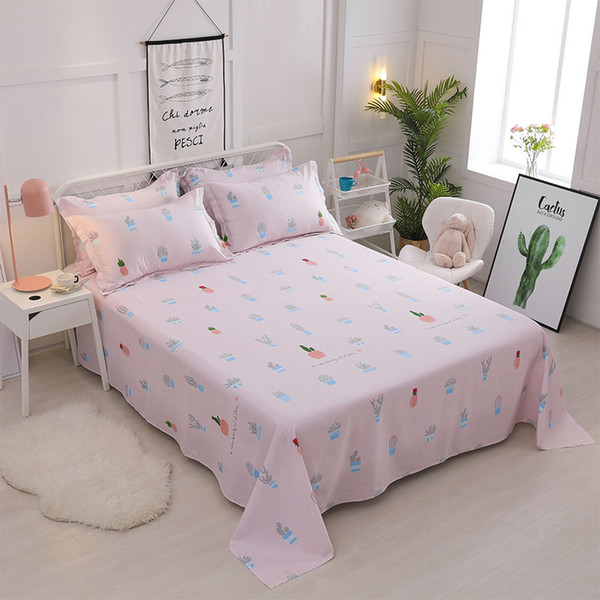 Pink print Flat Sheet Bed Linens 100% cotton Bedsheets Twin Full Queen size bed flat sheet cover Home Textile