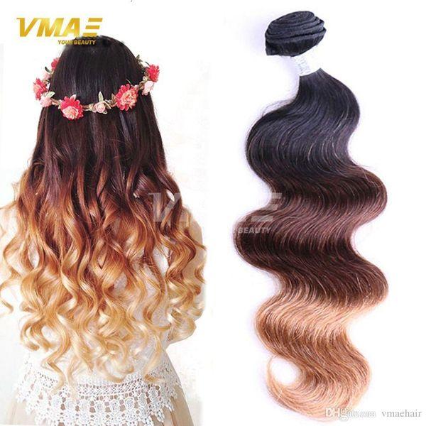 3 Bundles Brazilian Virgin Hair Body Wave 3 Tone T1b 33 27 Ombre Hair Extensions 100% Human Hair Weave Factory Selling