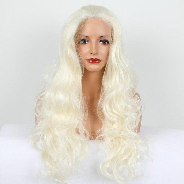 Lace Front Wigs blonde/white mixed color loose wave synthetic lace front wigs natural blonde resistant fiber hair for white woman kabell wig
