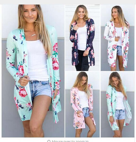 best selling 2018 Flora Printing Jackets Cardigans Casual Blouse Outwear Long Sleeve Loose Sweater Women Vintage Coats Spring and Autumn