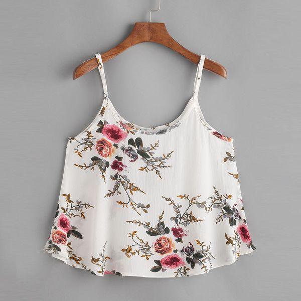 Women Casual Sleeveless Floral Crop Top Vest Tank Shirt print Cami Top cute T-shirts for girls sexy Poleras de mujer moda 2019