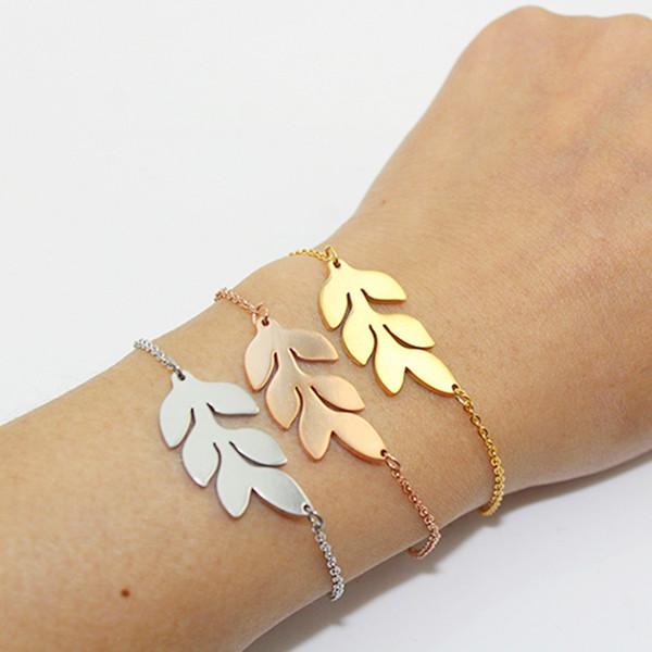 Leaf charm Bracelet Brief Gold/Silver Color Stainless steel Plant Fashion Designs Leaves Bracelets for Women Bridesmaids Gift wholeslae