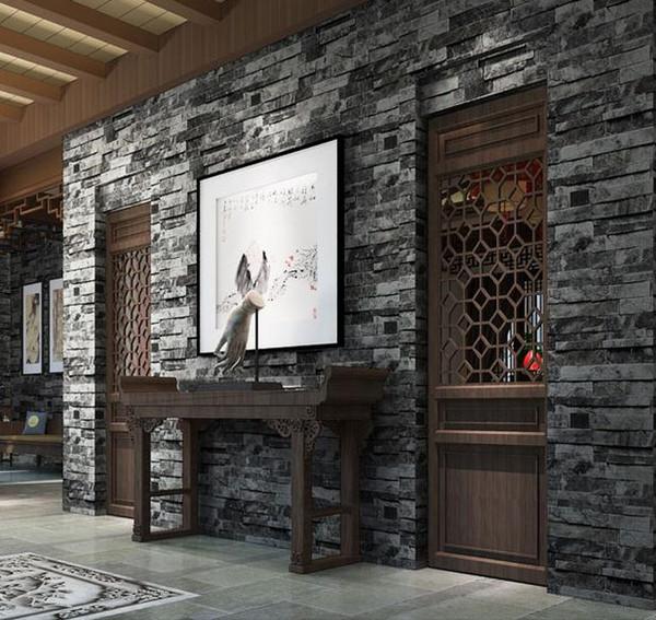 Rustik Sahte Tuğla Vinil Duvar Kağıdı Siyah Gri Taş Desenli Duvar Arkaplan 3D Dekor