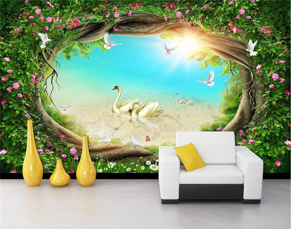 Compre Custom Photo Wallpaper 3d Fantasy Fairy Tales Bosques Cisne Mural Sala De Estar Tv Fondo Pintura De La Pared Kids Bedroom Wallpaper A 2136